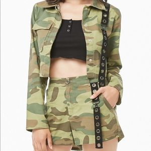 camo shorts matching jacket